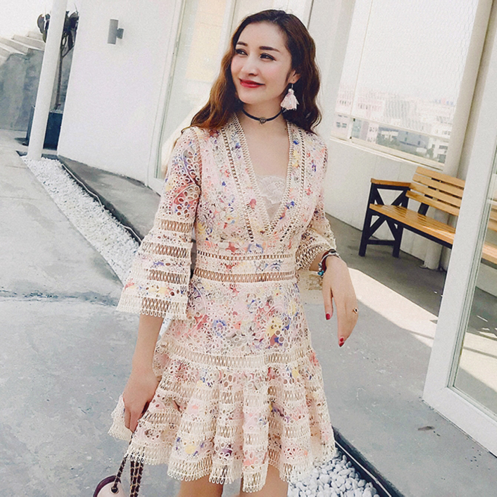 Red RoosaRosee 2019 Summer Flower Print Hollow Out Embroidery Flare Sleeve Mini Dress Holiday Party Cotton