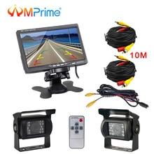 """AMPrime 7 """"LCD A Doppia della Macchina Fotografica di Backup Car Rear View Monitor Kit per il Camion Bus RV 18 Notturna di IR LED visione Retrovisore della Macchina Fotografica di Inverso"""