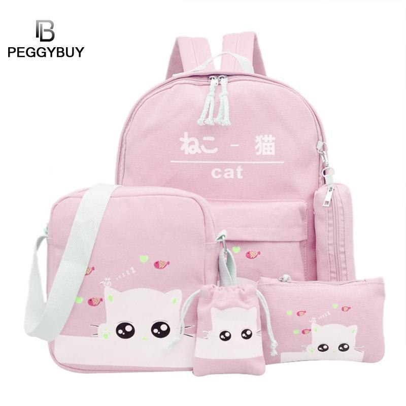 5Pcs/Set Students Canvas Backpacks Cat Pattern Shoulder Teenage Girls Kawaii Pen Clutch Case Drawstring Book Packs