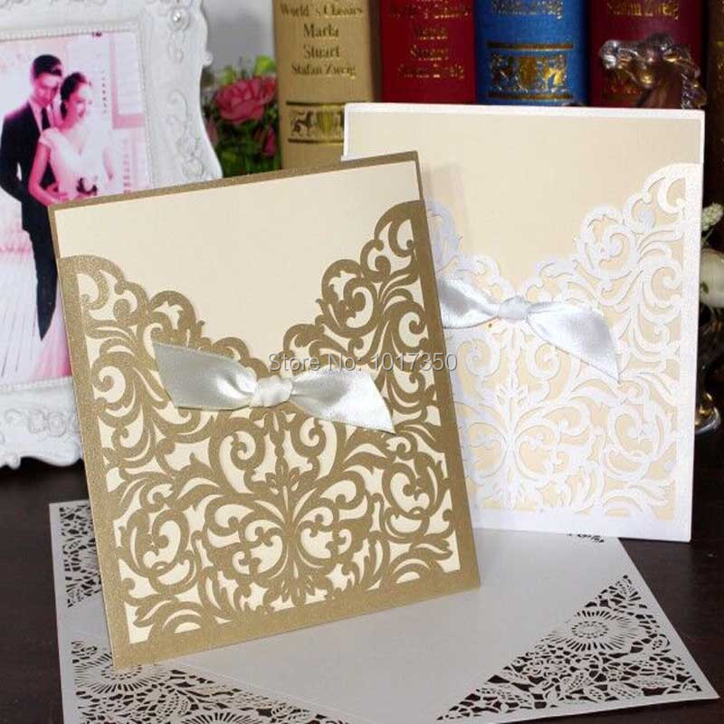 Laser Cut Wedding Invitations Bow Gold Red Purple Champagne Hollow Invitation  Invites Card Envelope Party Supply