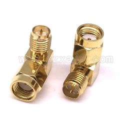 JX connector 2PCS RP-SMA Male Jack To RP SMA Female Jack Screw Thread Connector 90 Degrees Right Angle RF SMA Adapter for FPV