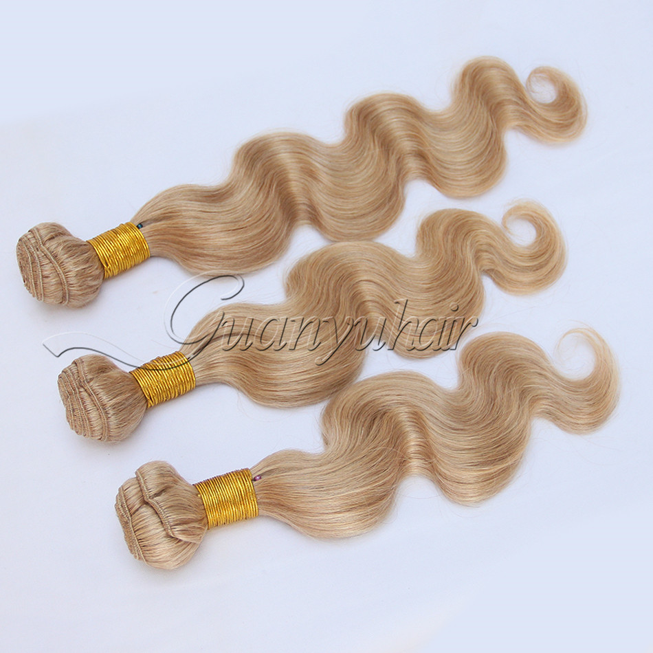 Guanyuhair #27 Honey Blonde Body Wave Malaysia Human Hair 3 Bundles With Frontal Closure 13x4 Ear To Ear 3/4 Bundles With Closure Human Hair Weaves