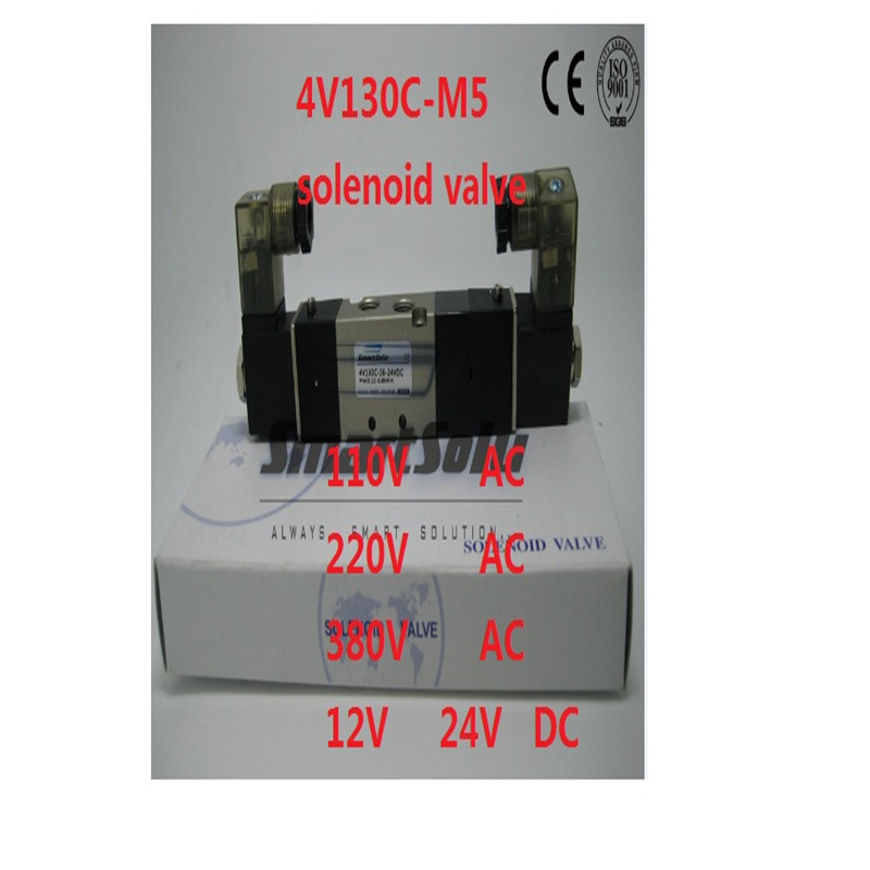 Free shipping  solenoid valve 4V130C-M5 Double coil Port M5 220V AC 5 way 3 position control valve with Plug type red LED light free shipping dsg 02 3c4 rc 3 8 solenoid operated directional valve 220v ac terminal box type or plug in connector type