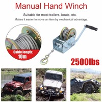 New Durable 2500lbs Hand Winch With 10M Steel Wire Heavy Duty Car Truck Lift Winch Auto Lifting Sling Proffessional Lifting Tool