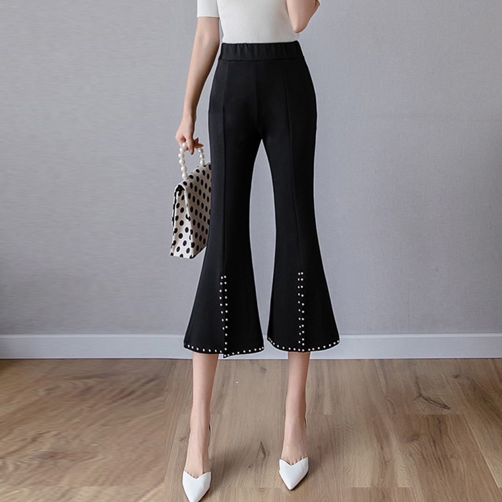 New 2019 summer rivet split micro-flare   pants   women stretch leggings wide leg   pants     capris   casual   pants   cropped   pants   trousers
