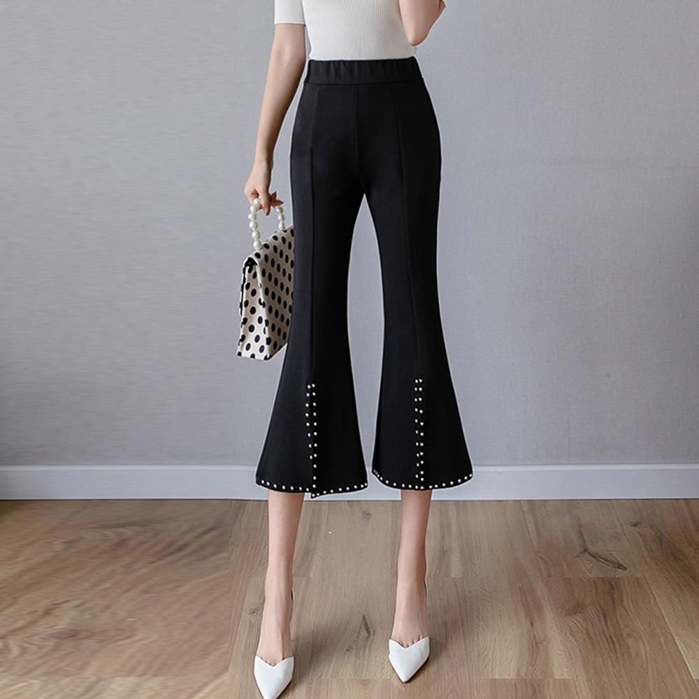 New 2019 summer rivet split micro-flare   pants   women stretch leggings wide leg   pants     capris   casual   pants   cropped   pants   trousers