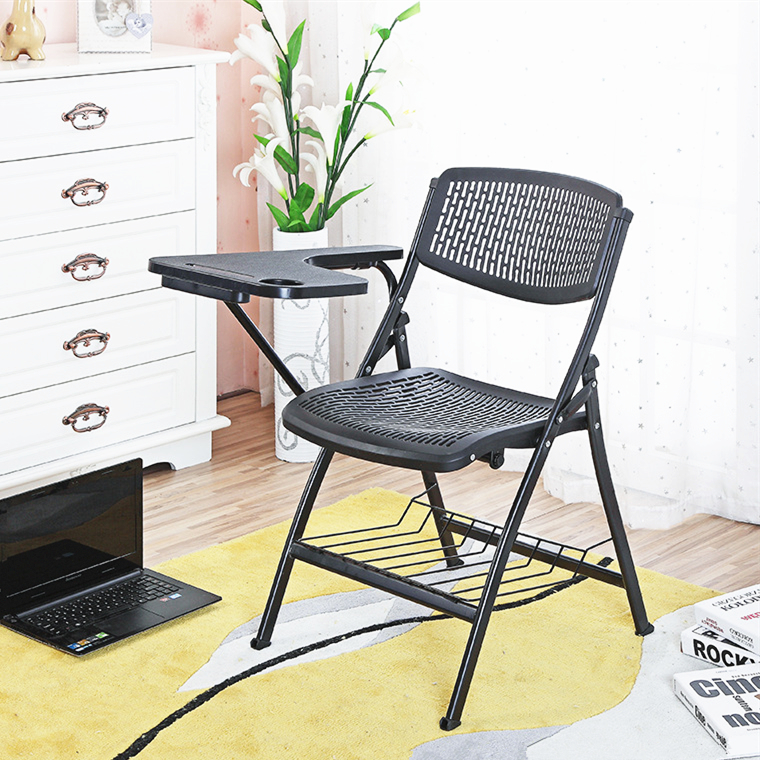 Portable Foldable Folding Plastic Mesh Chair Outdoor Office Conference Chair With Writing Board Employee Training Sedie Ufficio