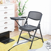 Fashion Breathable Folding Staff Training Chair Office Conference Meeting Chair With Writing Board Portable Student Chair