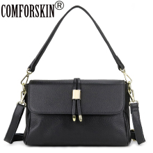 COMFORSKIN Brand Guaranteed Luxurious 100% Genuine Leather Womens Messenger Bags New Arrivals Large Capacity Travelling