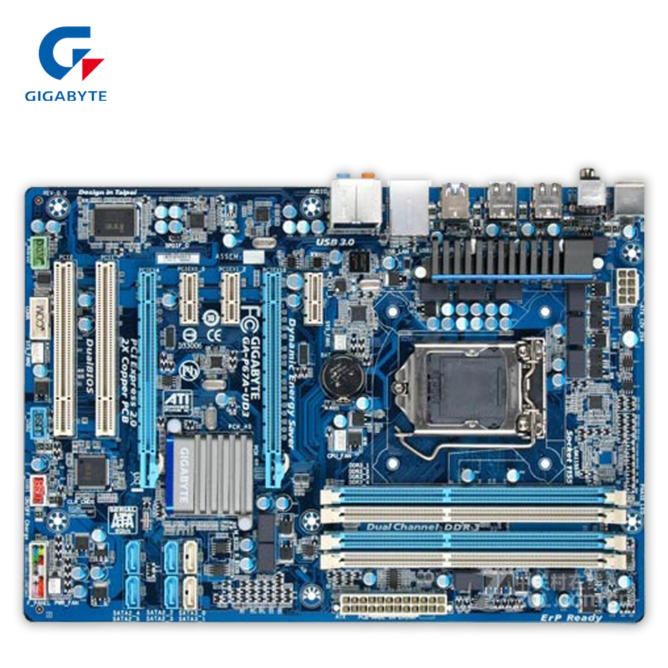 Gigabyte GA-P67A-UD3 Original Used Desktop Motherboard P67A-UD3 P67 LGA 1155 i3 i5 i7 DDR3 32G SATA3 ATX ga p61 s3 p61 desktop motherboard large panel p61 s3 a 1155 ddr3 100% tested perfect quality