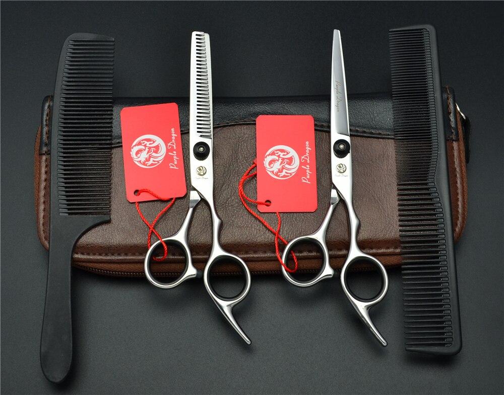 4Pcs Suit 6'' Black Purple Dragon Professional Human Hair Scissors Hairdressing Sears Combs + Cutting Scissors + Thinning Z1001