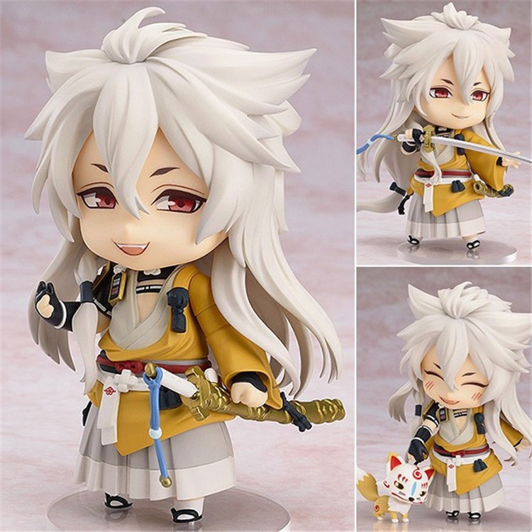 Action figure toys Cute Nendoroid Doll Touken Ranbu Online Kogitsunemaru Action Figure Model Toy 410cm new hot 20cm touken ranbu online hotarumaru action figure toys collection christmas toy doll