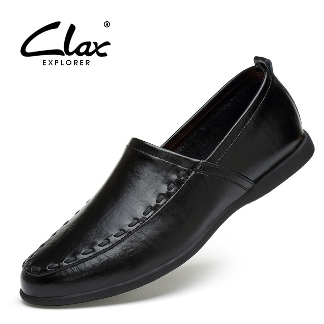 Clax Men s Leather Boat Shoes 2018 Spring Summer Black White Dress Shoes  for Male Flats Loafers Casual Moccasin 2a890f6e6c59