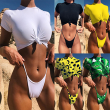 купить Sexy Micro Bikini Set Women Solid Color Leopard Snake Short Sleeve Swimsuit Lady Thong Bikini Set Womens Biquinis Bathing Suit по цене 716.44 рублей