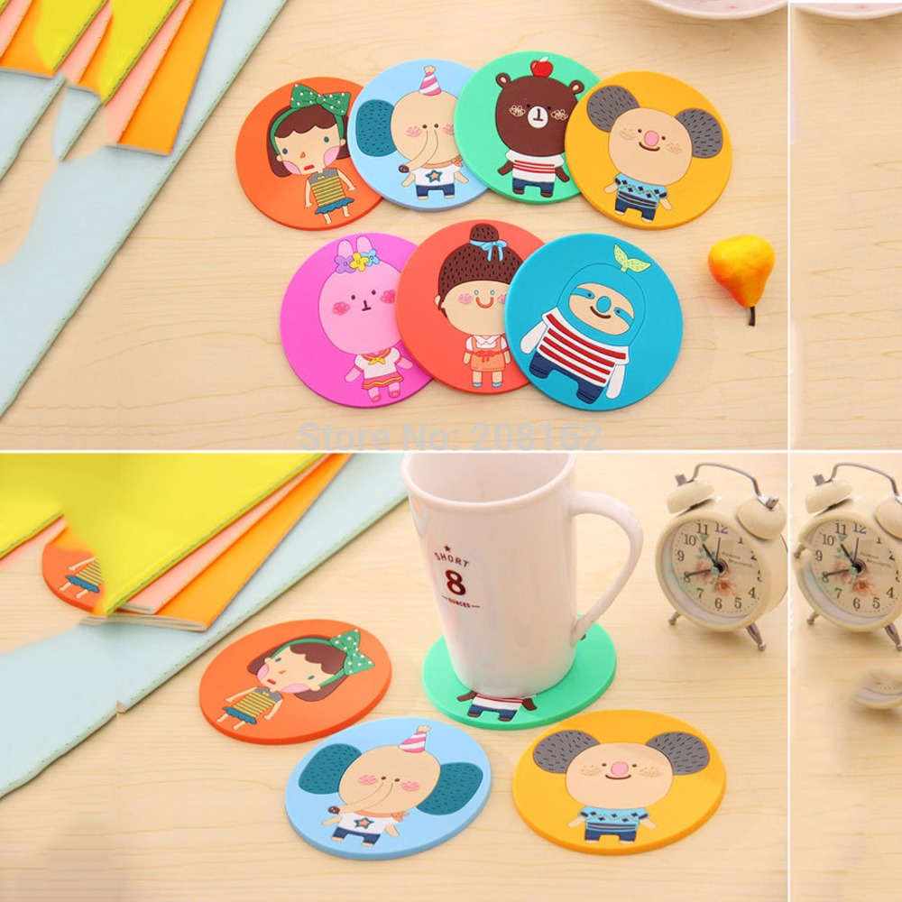 1 Pcs Silicone Dining Table Placemat <font><b>Coaster</b></font> Kitchen Accessories Mat <font><b>Cup</b></font> Bar Mug <font><b>Cartoon</b></font> Animal <font><b>Drink</b></font> Pads
