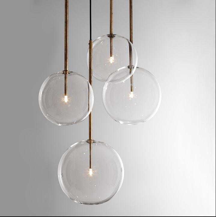 Nordic творческий геометрический огни личность Стекло Круглый ресторан кафе бар настольная лампа спальня с одной головкой люстра