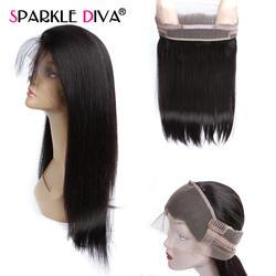 360 Кружева Фронтальная застежка перуанский Прямо Реми натуральные волосы с ребенком волос предварительно сорвал 360 Полный кружева