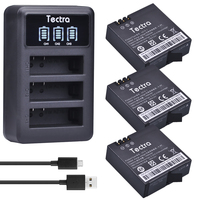 Tectra 3pcs AZ16 1 1400mAh Rechargeable For Xiaomi Yi Battery LED USB 3 Slot Charger For