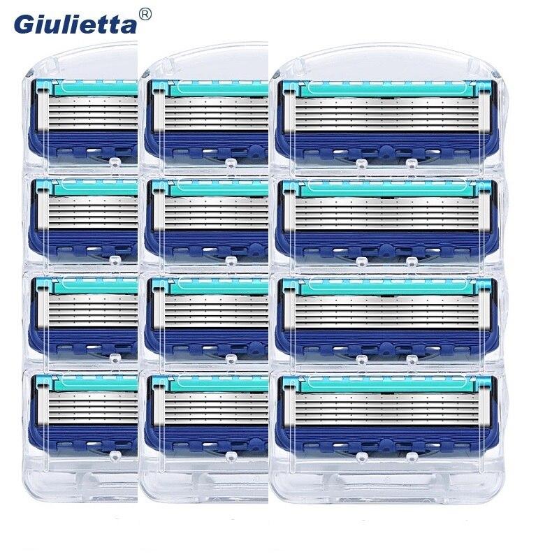 12 teile/paket Giulietta Männer Rasierklingen Rasieren Kassetten Gesichts Pflege Männer Rasierklingen Kompatibel mit Gillettee Fusione