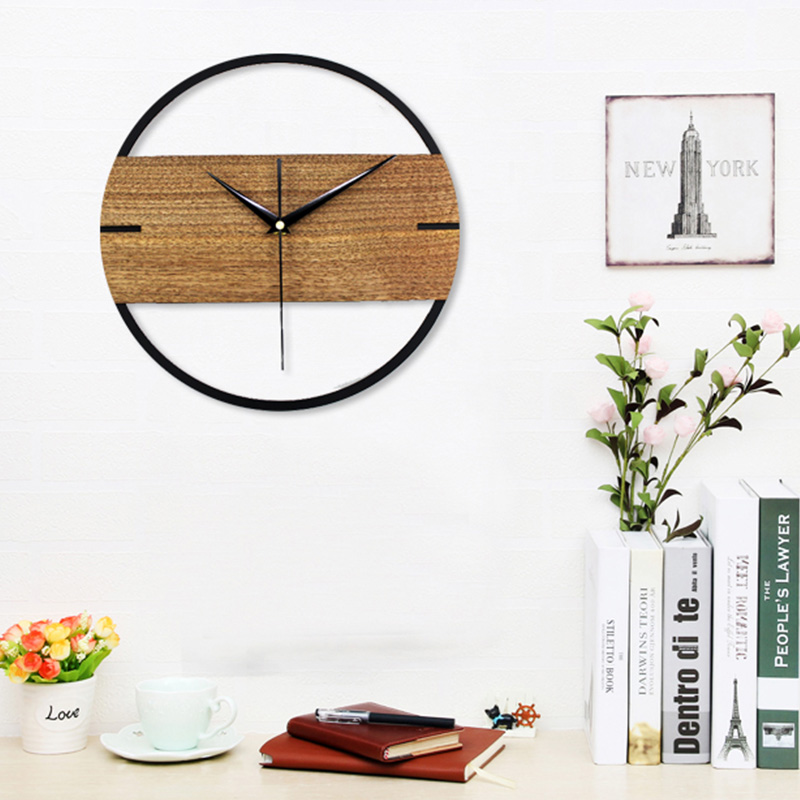 12 Inch 3D Silent Vintage Wall Clock Simple Modern Design Wooden Clocks For Bedroom Stickers Wood Wall Watch Home Decor