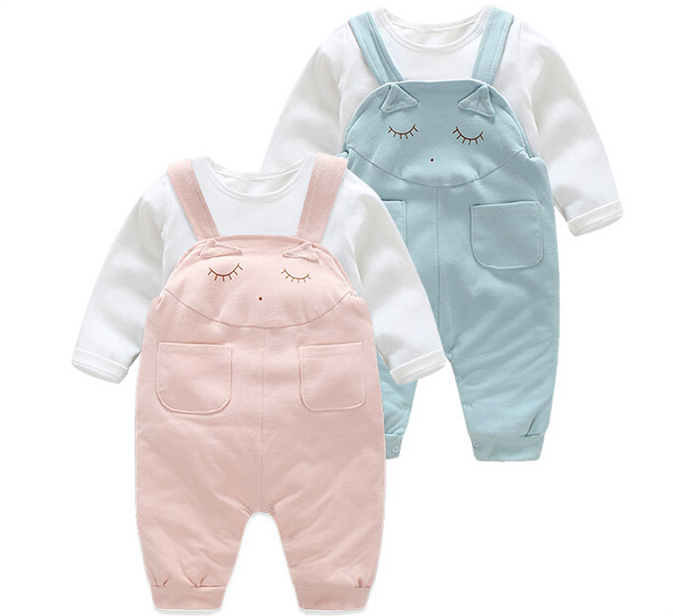 summer spring Baby Boy girls clothes newborn clothing set bebes long sleeve T-shirt + overalls infant suspender trousers set 2017 spring summer newborn cartoon rompers baby clothes girls cotton long sleeve clothing bebes boy jumpsuits infant costume
