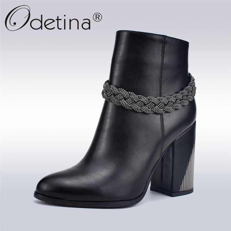Odetina חדש אופנה Balck נשים גבוהה העקב קרסול מגפי עם מתכת שרשרת קצר מגפי צד רוכסן עבה כיכר העקב חורף נעליים