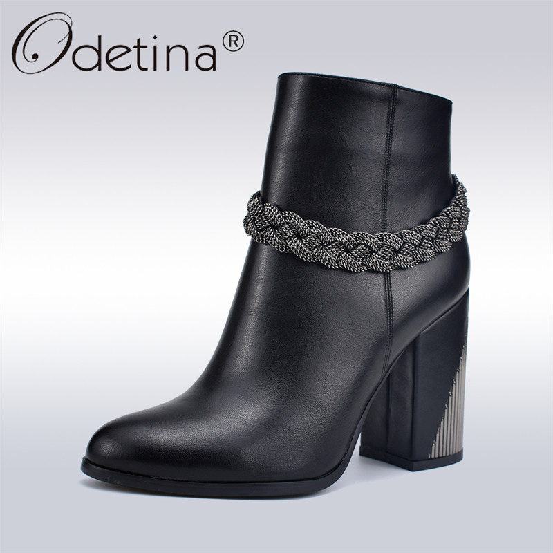 Odetina New Fashion Balck Women High Heel Ankle Boots With Metal Chain Short Boots Side Zipper Thick Square Heel Winter ShoesOdetina New Fashion Balck Women High Heel Ankle Boots With Metal Chain Short Boots Side Zipper Thick Square Heel Winter Shoes