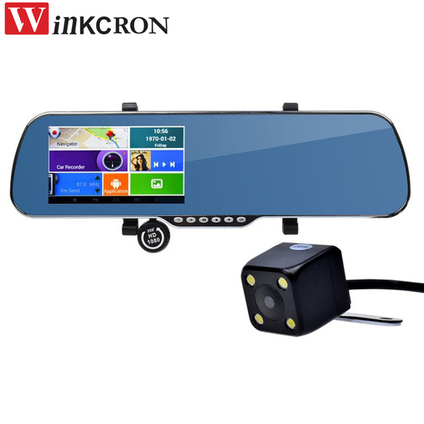 5'' Car DVR Mirror Android GPS Mirror With 1G RAM+8G ROM Dual Lens Video Recorder WIFI+WDR Function Free EU US RU Maps