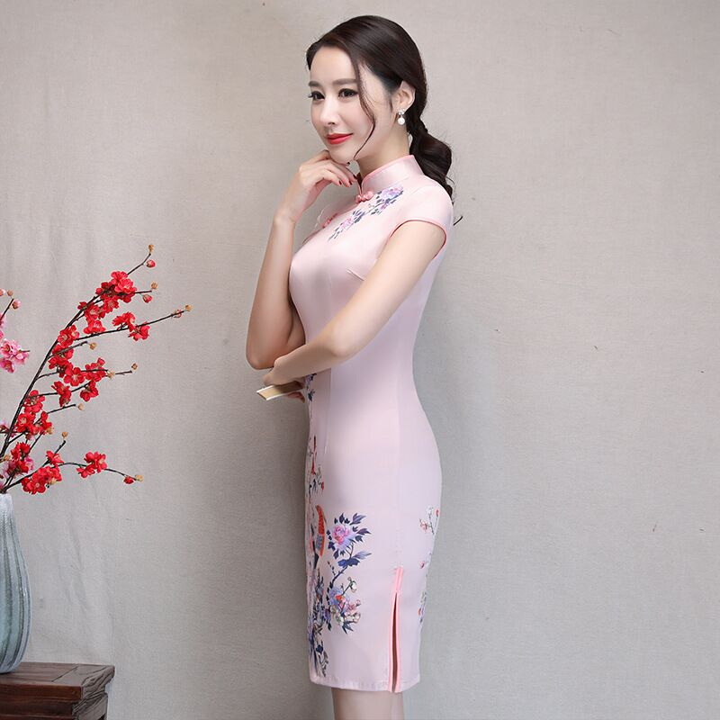New Arrival Women's Satin Mini Cheongsam Fashion Chinese Style Dress Elegant Slim Qipao Clothing Size S M L XL XXL 368483 21