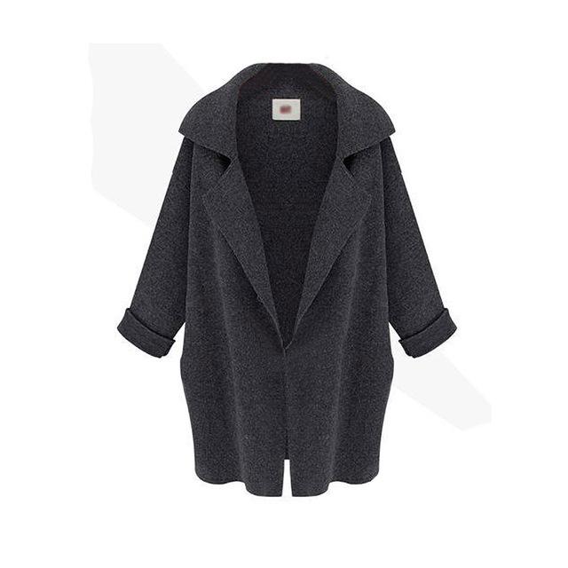 Las Mujeres del otoño Caliente de Manga Larga de Punto Cardigan Trench Coat Outwear DQ02 RT5