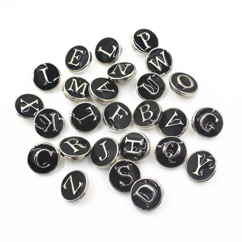 26 шт/лот эмаль черный a z алфавит кнопки подходят для 12 мм