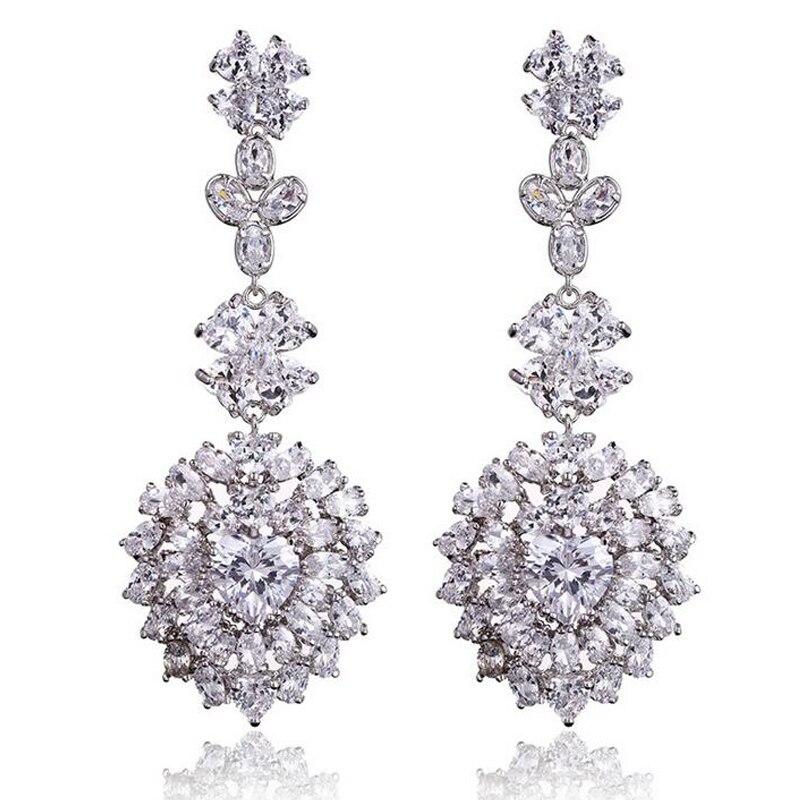 XOWSHINE Luxury 2 Color Marquise Big Earrings Women Luxury Zirconia Large Claires Copper Pendant white 1 Brincos