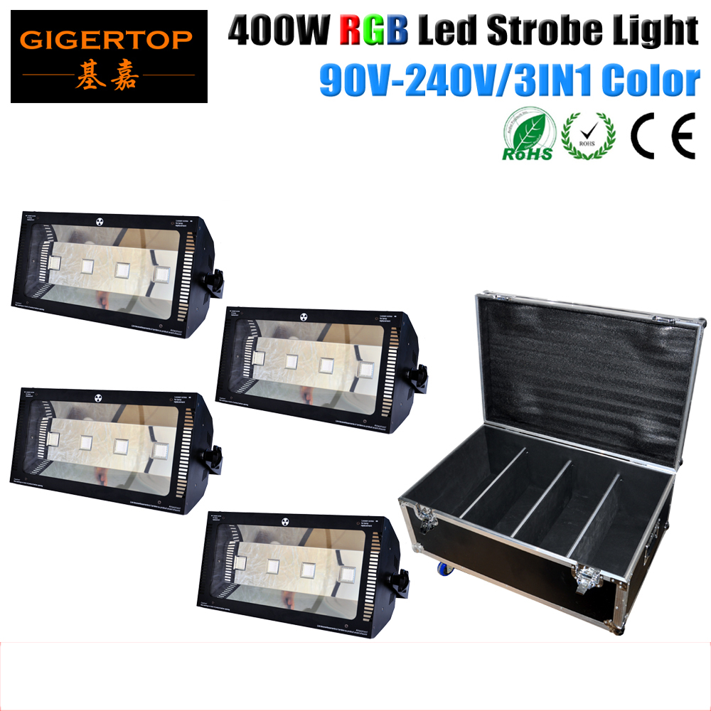 Flightcase 4in1 Pack 400W RGB LED Multicolor Lighting 4X100W LED RGB Sound Active/ Auto Run Strobe Stage Light DJ Club Party