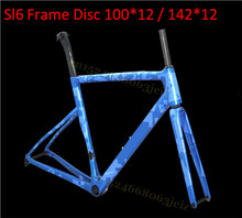 купить Light Weight SL6 Full Carbon Disk Road Bike Frame CX Road DISC Brake 100*12 / 142*12 Carbon Fiber Road Bike Carbon Frameset дешево