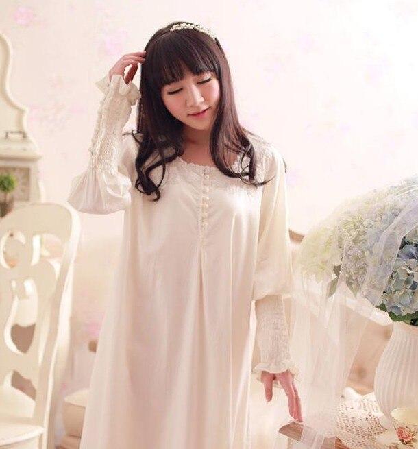 306b2c6086 Free Shipping 100% Cotton Princess Nightdress Women s Long Royal Nightgown  White Sleepwear Ladies pijama feminino