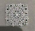 Prata esterlina 925 com zircão cúbico e minúsculo conector para fazer jóias colar de pérolas de água doce forma quadrada DIY moda