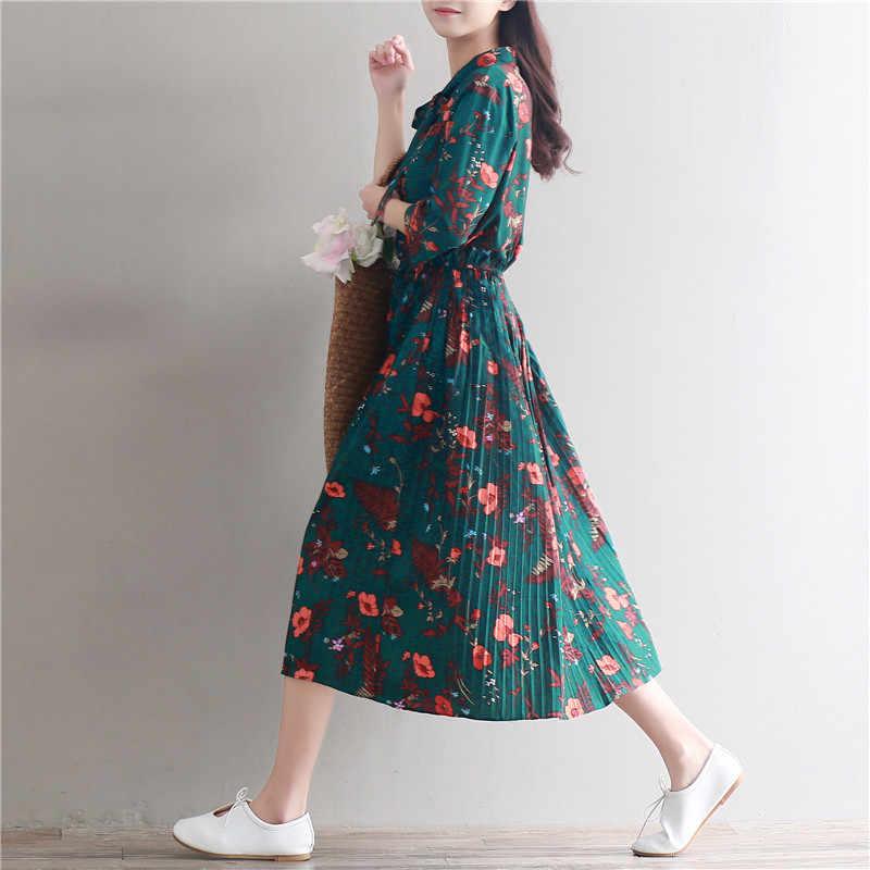 13fd3a20aef ... Mori Girl  Винтажный стиль ретро цветочный принт длинные шифоновые  платья плиссе 2019 новый сезон  ...