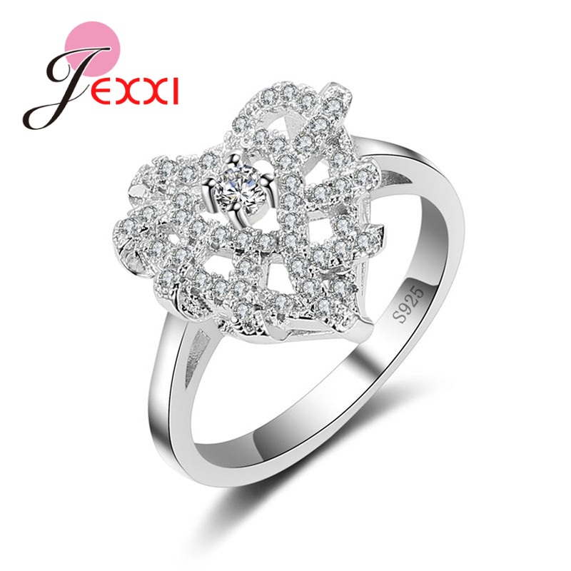 jexxi unique design voluble heart shape new type ring 925 sterling silver ring with full cz crystal best jewelry gift for wome - Wedding Ring Types