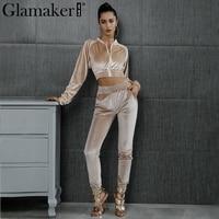 Glamaker Casual Velvet Two Pieces Suits Jumpsuit Ropmer Women Autumn Sexy Crop Overalls Elegant Winter Long