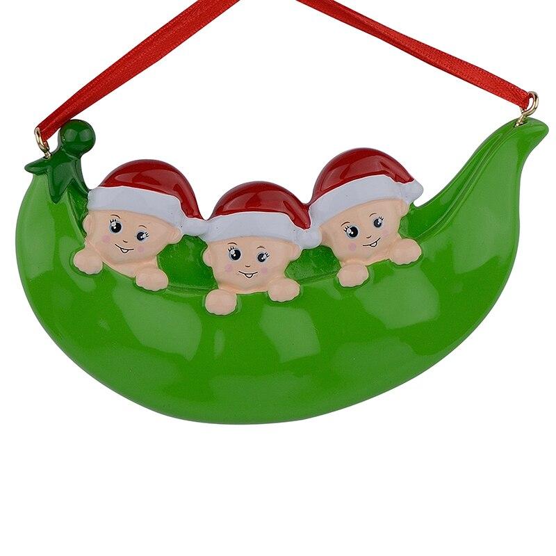 Resina Peapod Familia de 3 adornos navideños Regalos personalizados - Para fiestas y celebraciones - foto 1