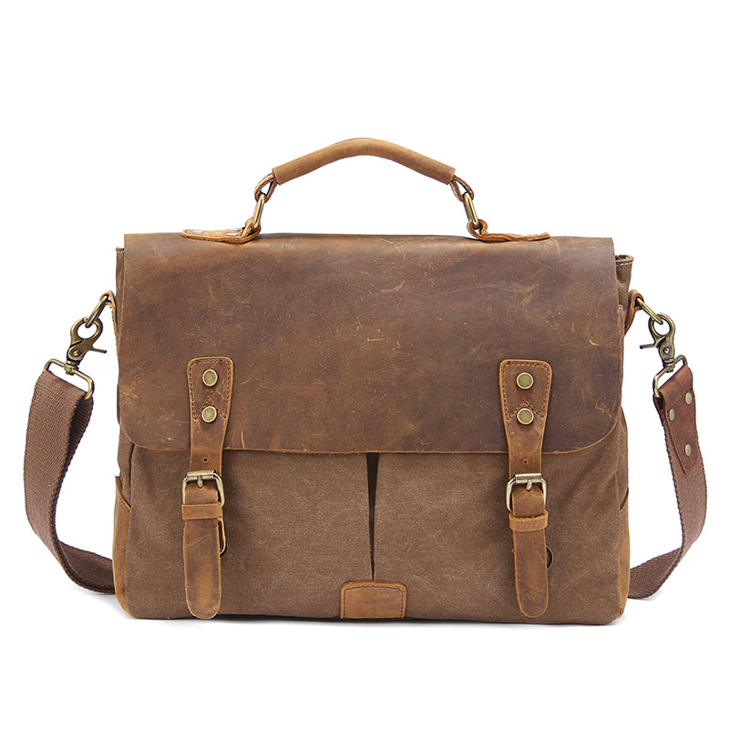 Men s Briefca New Vintage Crazy Horse Leather Canvas Business Handbags High Quality Cowskin Hand Bags