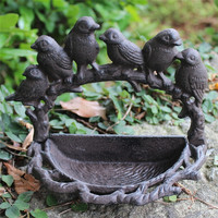2 Garden Cast Iron Bird Bath Feeder Shabby Vintage Chic Outdoor Stand Bowl Birdbath Bird Bath Antique put on Patio Courtyard