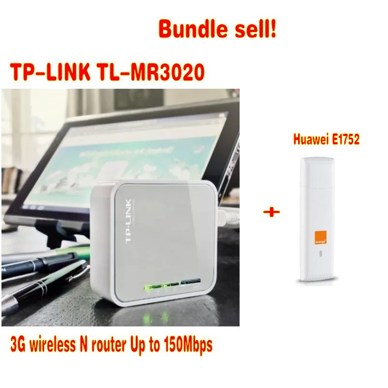 Unlocked HUAWEI E1752 +TP-Link tl-mr3020 Wireless N router