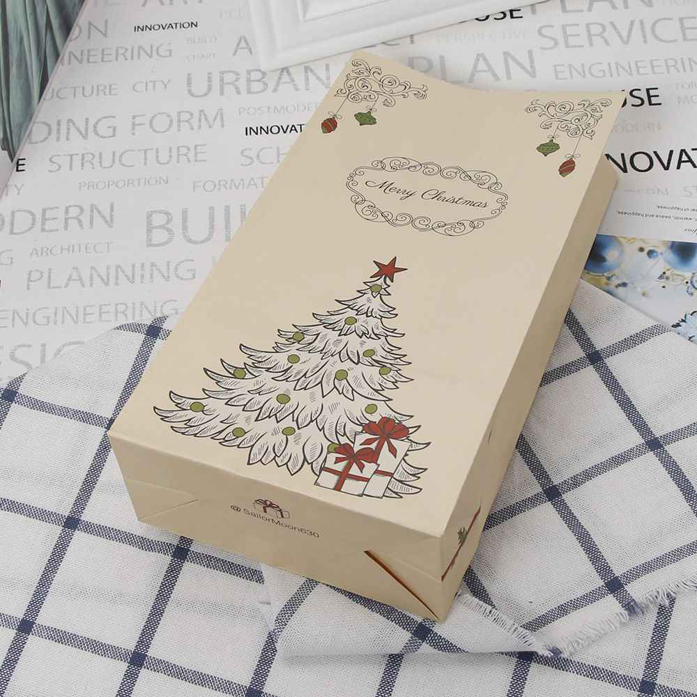 Retro Christmas Tree Pattern Kraft Paper Packing Gift Bags Christmas Party Wedding Marriage Candies Food Cookie Packaging Bags