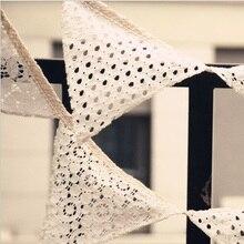 2,5 м белый кружевной тканевый Баннер Вымпел Свадебный флаг флаги украшения винтажная Вечеринка день рождения свадьба гирлянда домашний декор