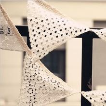 2,5 M tela de encaje blanco Banner banderín bandera para boda decoración empavesado Vintage fiesta cumpleaños boda guirnaldas para decoración de hogar