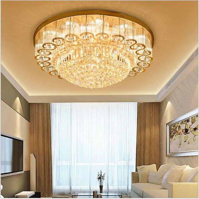 L Goldenen kristall lampe wohnzimmer runde decke moderne schlafzimmer  Europäischen atmosphäre led