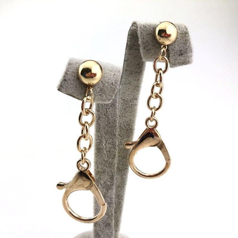 Metal Long Chain Lobster Pendant Long Stud Earrings For Women