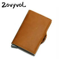 ZOVYVOL 2019 New Style Wallet Metal Rfid Blocking Mini Slim Wallet Hasp Travel Purse Genuine Leather Unisex Business Card Holder travel slim wallet business card