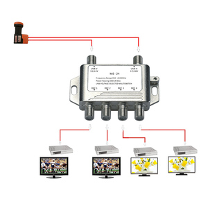 Image 2 - 2x4 DiSEqC Satellite Stand Alone MultiSwitch FTA TV LNB Switch Cascade 2 in 4 multiswitch 2 LNB 4 REC  For DVB S2 and DVB T2